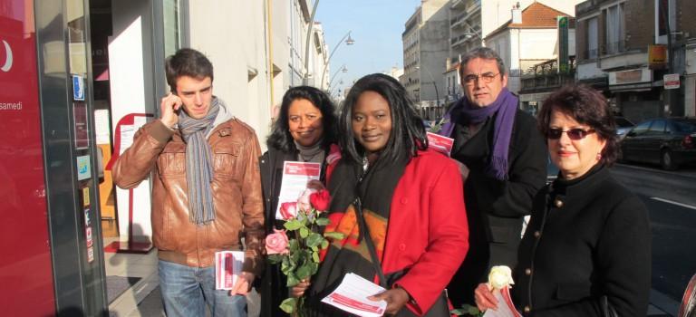Journée de la femme : campagne fleurie pour le Front de Gauche et le PS