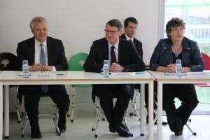 Thierry Leleu, préfet du Val de Marne, Vincent Peillon, ministre de l'Education, Florence Robine, rectrice de l'Académie.