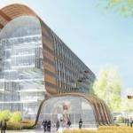 Perspective du futur campus tertiaire de la Société Générale à Fontenay-sous-Bois (Val-de-Marne), par Architectures Anne