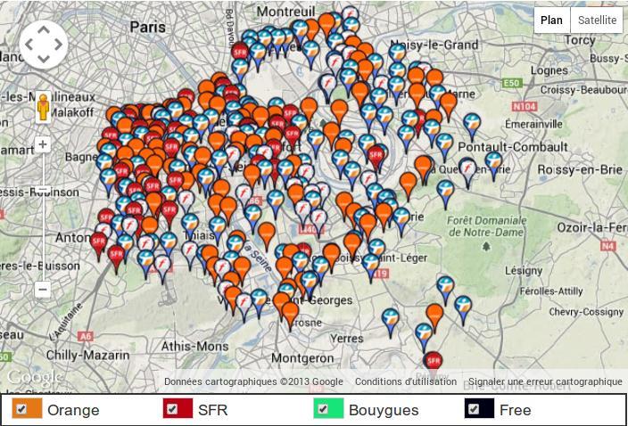 Carte 4G Val de Marne 1er decembre 2013