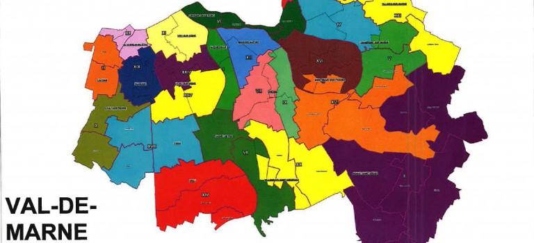 Carte des cantons 2015 du Val de Marne : détail du découpage