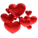 Sweet beautiful hearts on white background