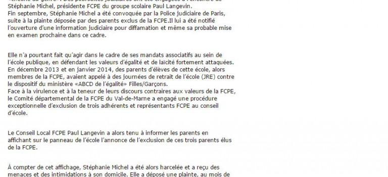 Fontenay se mobilise pour soutenir l'élue FCPE attaquée en justice