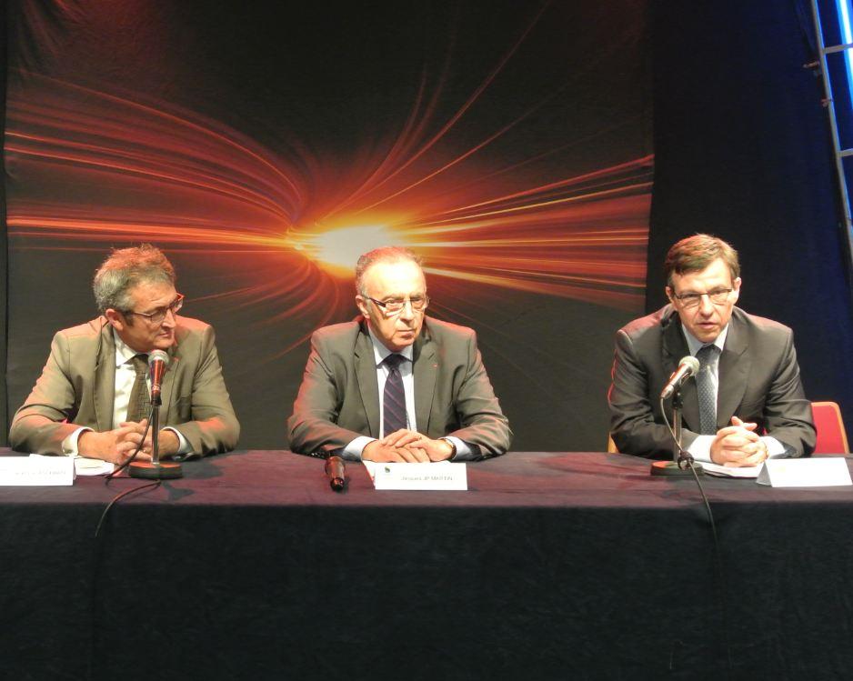 Jean-Luc Aschard, directeur régional ERDF, Jacques JP Martin, président du Sipperec et Jérôme Barré, directeur régional d'Ile de France.
