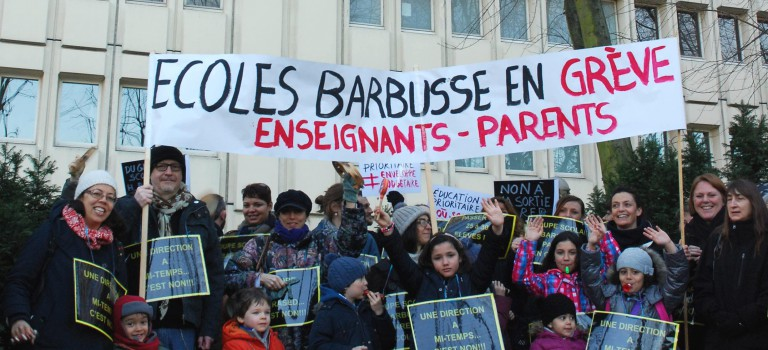 Education prioritaire Alfortville : manif d'Henri Barbusse et occupation de l'école Octobre