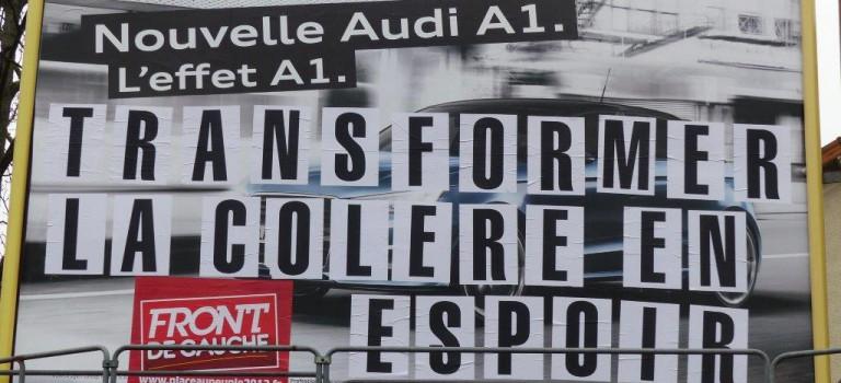 Le Front de Gauche revisite les panneaux publicitaires à Créteil