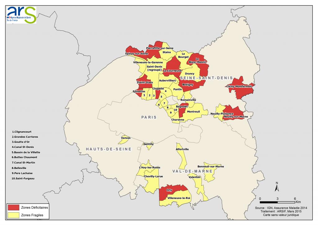 Zonage démographie medicale prioritaire paris petiote couronne Avril 2015