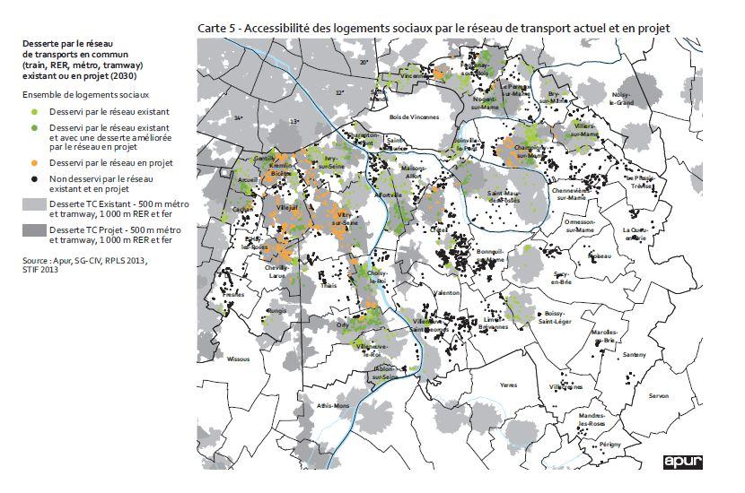 Carte accessibilité aux transports des logements sociaux Val de Marne Credit image Apur