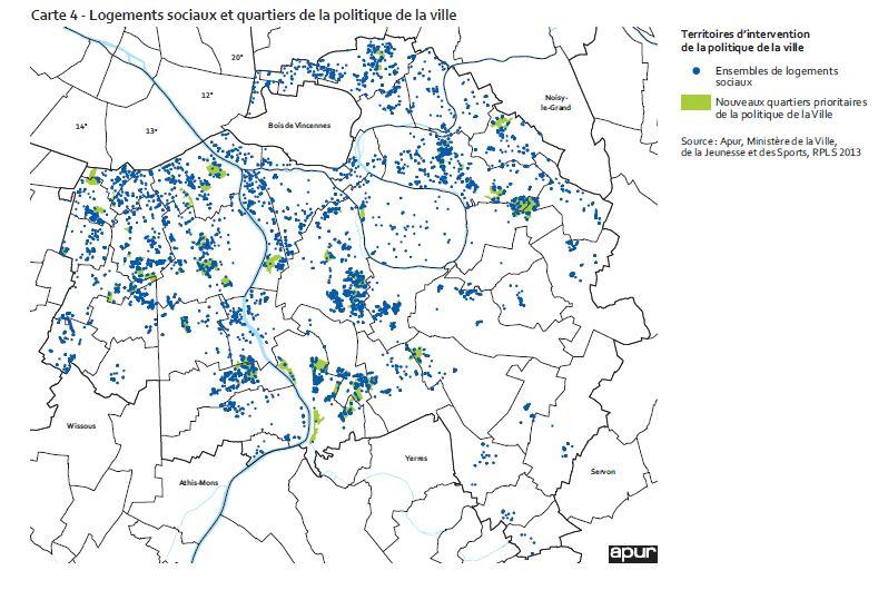 Carte politique de la ville et  logements sociaux Val de Marne Credit image Apur