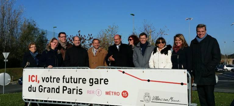 Régionales Ile-de-France : les candidats LR-UDI-Modem s'arrêtent à la future gare Bry-Villiers-Champigny