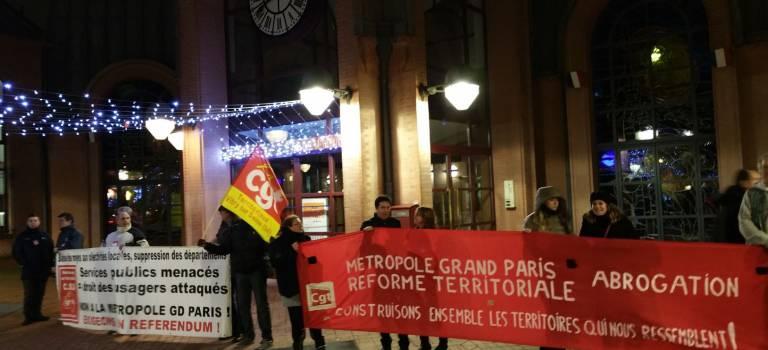 Manif des agents de Grand Orly Seine Bièvre à propos des transferts de compétence