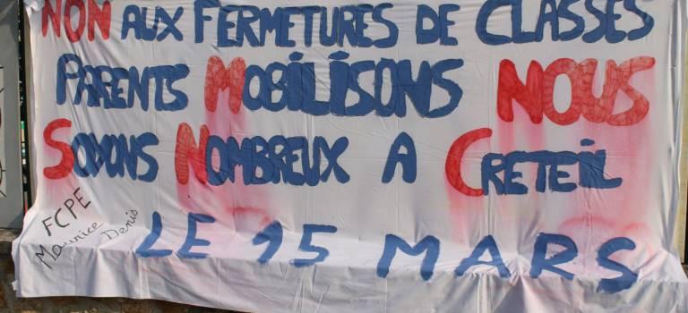 Grève,  écoles mortes et manifestation pour protester contre les fermetures de classe dans le Val-de-Marne