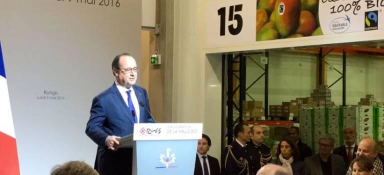 François Hollande inaugure la Halle bio du MIN de Rungis