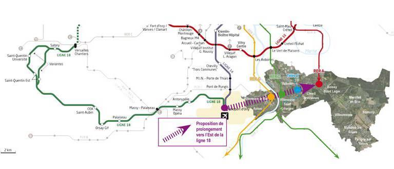 Villeneuve le Roi a voté pour prolonger la ligne 18 à l'Est