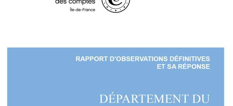 La Chambre régionale des comptes publie son rapport sur la gestion du Val-de-Marne