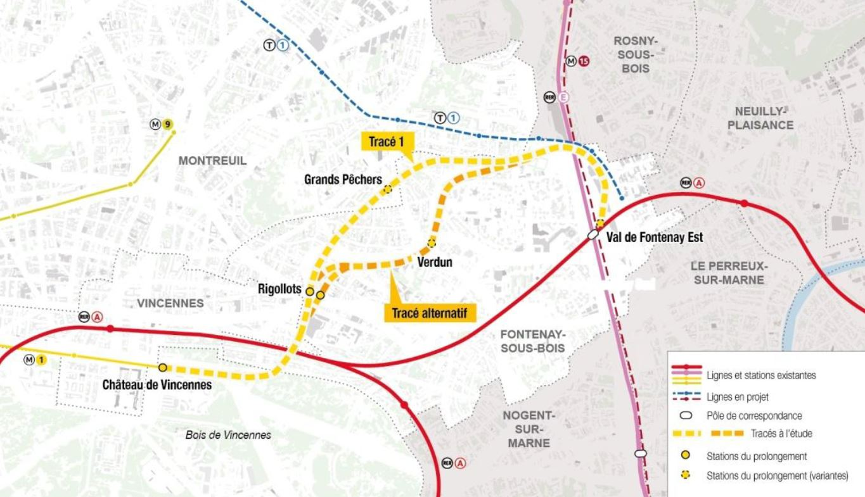 trace ligne 1 metro chateau de vincennes val de fontenay rigollots grands pechers