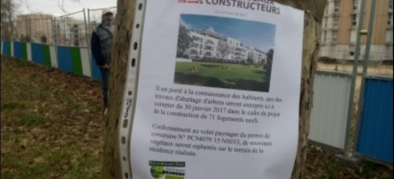 Manif de riverains contre l'abattage d'arbres à Villiers-sur-Marne