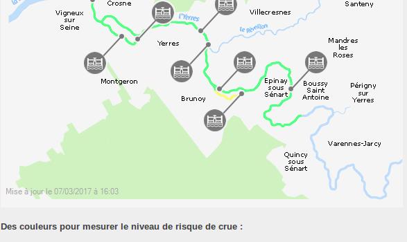 L'Yerres a débordé à Villeneuve-Saint-Georges et à Périgny