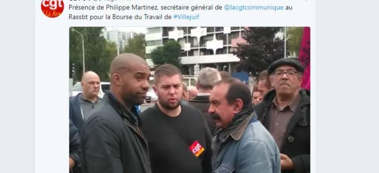 Martinez à la manif pour la Bourse du travail de Villejuif