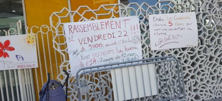 Manif et occupation à la maternelle Coquelicots de Fresnes