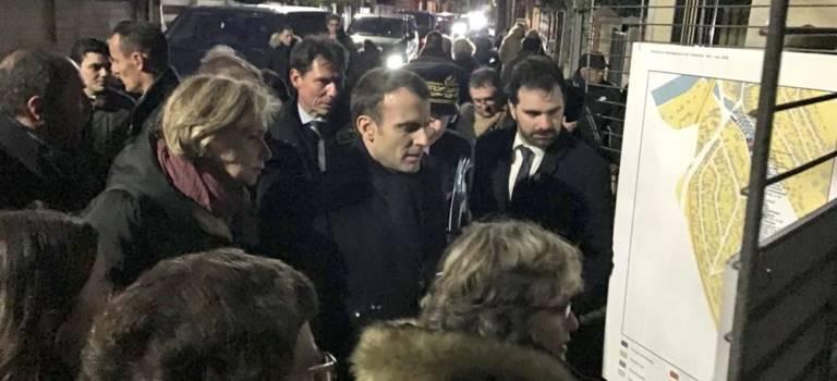 Après la crue, bain de foule pour Macron à Villeneuve-Saint-Georges