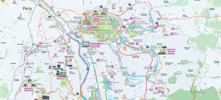 Carte touristique et balades à pied ou en vélo en Val-de-Marne