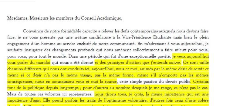 Les gros copier-coller du candidat Fac à la VP étudiante de l'université de Créteil