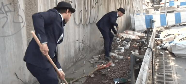 A Choisy-le-Roi, les gentlemen de la propreté nettoient les bords de l'A86