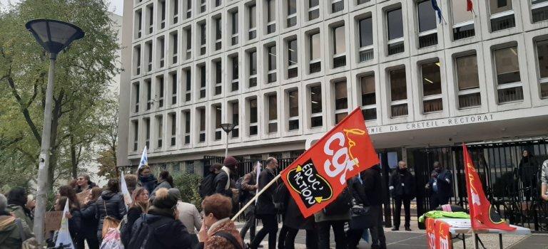 Grève académique et manifestation intersyndicale devant le rectorat de Créteil