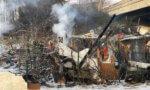 Incendie dans un bidonville  entre RN19 et RD406 à Bonneuil-sur-Marne