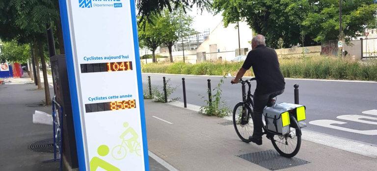 Un totem pour compter les vélos à Ivry-sur-Seine