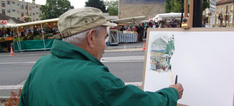 Les peintres au marché à Villecresnes