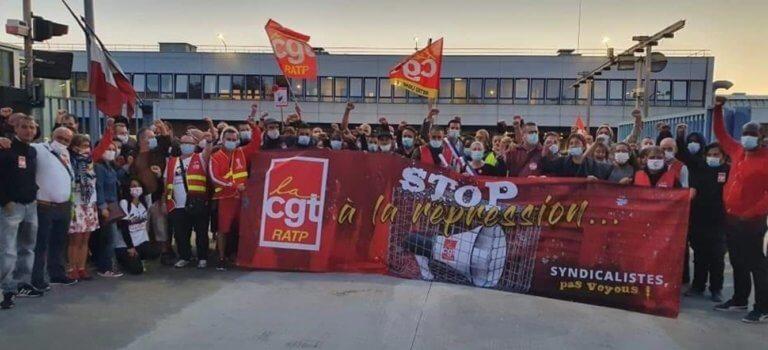 Manif au dépôt RATP de Thiais après le licenciement d'un syndicaliste