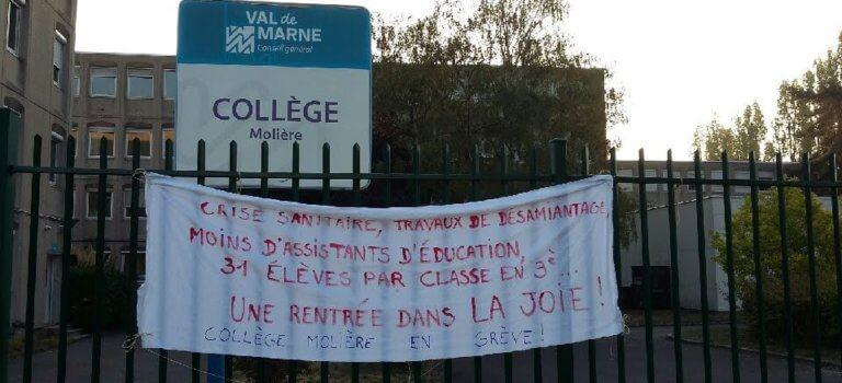 Chennevières-sur-Marne: le collège Molière en grève