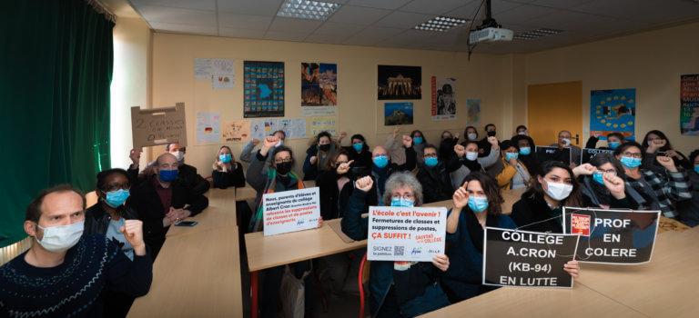 Le Kremlin-Bicêtre: rassemblement contre des fermetures de classes au collège Albert Cron