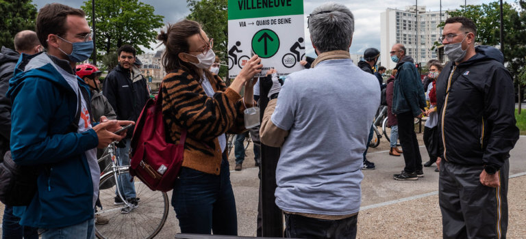 RER Vélo en Ile-de-France: marquage symbolique pour sensibiliser les candidats